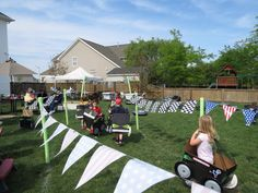 Race track in the backyard for the kiddo's birthday party.