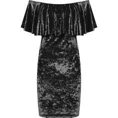 Myrtle Crushed Velvet Bardot Dress ($42) ❤ liked on Polyvore featuring dresses, black, frilly dresses, off shoulder dress, off the shoulder cocktail dress, tiered ruffle dress and tiered cocktail dress