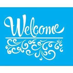 Stencil-para-Pintura-25x20-Welcome-e-Arabesco-LSG-041---Litocart Stencil Templates, Stencil Patterns, Stencil Diy, Stencil Designs, Craft Patterns, Stenciling, Letter Stencils, Welcome Stencil, Arabesque