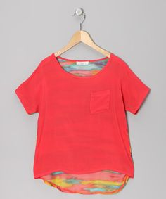 Take a look at this Coral Stripe Panel Top - Girls by Pinc Premium on #zulily today!