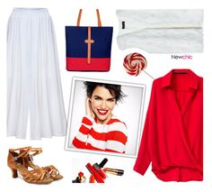 """Newchic (19/V)"" by dorinela-hamamci ❤ liked on Polyvore featuring white, red and redandwhite"