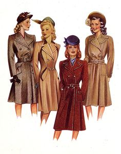 1940s illustration de mode: manteaux
