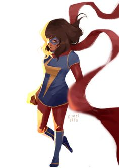 Marvel illustration by punziella Ms Marvel Kamala Khan, Marvel Girls, Marvel Dc Comics, Marvel Heroes, Captain Marvel, Marvel Comic Character, Marvel Characters, Spiderman, Batman