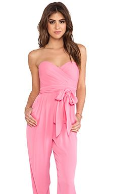 Catherine Malandrino Strapless Jumpsuit in Carnation | REVOLVE