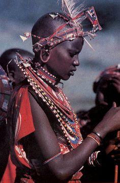 Africa | Masai girl, Kenya | Scanned postcard