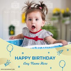 Happy Birthday Greeting Card, Greeting Cards, Birthday Wishes With Photo, First Birthdays, Names, One Year Birthday