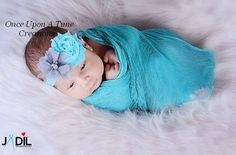 Aqua Blue and Gray Shabby Flower Newborn Headband Baby Girl Hair Bow Hairbow | eBay