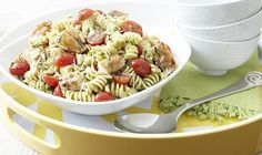 Pesto Pasta Salad with Chicken Recipe...a great summer dish.  I'd substitute shrimp as the protein since my hubby and kids don't eat chicken.