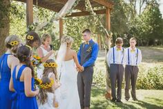 Sunflower yellow and royal blue wedding