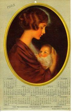 1925 the prudential insurance company of america advertising calendar newark, nj Vintage Calendar, Calendar Girls, Vintage Advertisements, Mona Lisa, Advertising, America, History, Coffin, Artwork