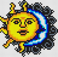 Minecraft Pixel Art Ideas Templates Creations Easy / Anime / Pokemon / Game / Gird Maker Sun And Moon Perler Perler Bead Pattern / Bead Sprite Pearler Bead Patterns, Kandi Patterns, Bead Loom Patterns, Perler Patterns, Weaving Patterns, Cross Stitch Patterns, Embroidery Patterns, Bracelet Patterns, Perler Bead Designs