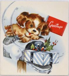 #1475 50s Adorable Puppy Dog on the Mailbox- Vintage Christmas Greeting Card