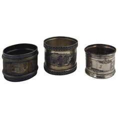 Eclectic Silverplate Napkin Rings- Set of 3 (165 BAM) ❤ liked on Polyvore featuring home, kitchen & dining, napkin rings, silverplate napkin rings, monogrammed napkin rings, silver plated napkin rings and silver plate napkin rings