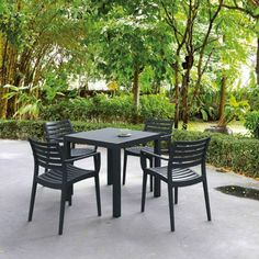 Square Table & Four Chair Armchair Dining Set, I like this for an outdoor set, square, all weather for MN, not sure of the color...