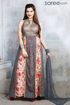 GREY AND MULTI COLOR GEORGETTE SUIT WITH PATCH WORK