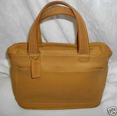 Vintage COACH Handbag British Tan Leather BLEEKER Tote Bag Pocketbook Purse