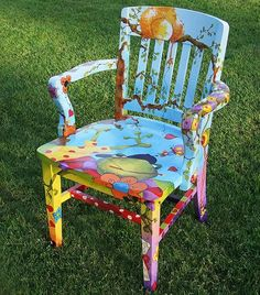 Hand painted chair by Sanneart Hand Painted Chairs, Whimsical Painted Furniture, Hand Painted Furniture, Funky Furniture, Colorful Furniture, Paint Furniture, Rustic Furniture, Furniture Makeover, Funky Chairs