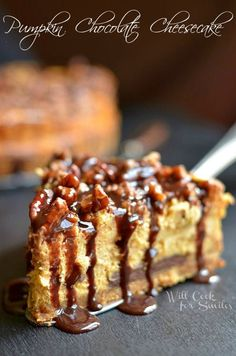 Pumpkin Chocolate Cheesecake | willcookforsmiles.com #pumpkin #cheesecake #chocolate