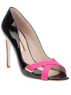 Black patent leather Hagen pump from Rupert Sanderson featuring a a peep toe with an bright pink leather cross detail, a leather sole and a patent leather covered stiletto heel.