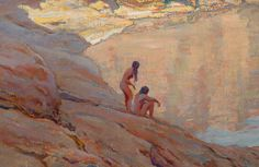 MAYNARD DIXON (American, 1875-1946). Desert Pool, 1916. O/C