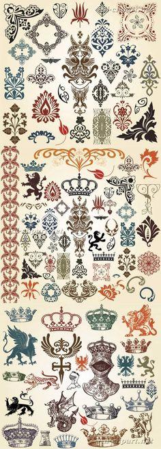 Винтажные декоративные и королевские элементы в векторе | Vintage decor vector elements