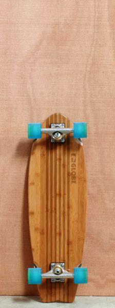 "Beautiful skate deck design / Globe 30"" Pin City Bamboo Longboard Complete, aqua wheels"