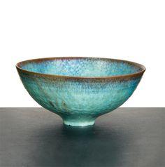 "Gertrud & Otto Natzler Bowl 1962 Green Crystalline glaze Natzler inventory no. L897 Studio Signed ""Natzler"" and retains inventory label ""L897"" 2.625"" x 5.75"" diameter"