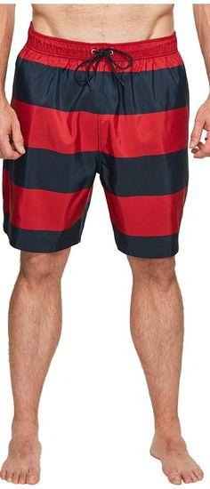 Nautica Big & Tall Big Tall Stripe Trunk (Nautica Red) Men's Swimwear - Nautica Big & Tall, Big Tall Stripe Trunk, F71633-675, Apparel Bottom Swimwear, Swimwear, Bottom, Apparel, Clothes Clothing, Gift, - Street Fashion And Style Ideas