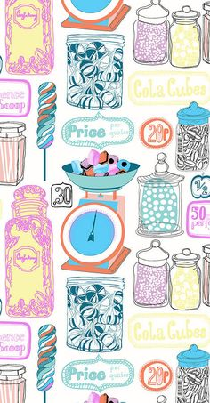 'Oh Sweetie' Sweet Shop CAndy Wallpaper