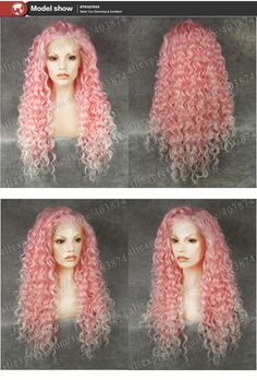 Aliexpress.com: Comprar N18 3100b / 1001# Lolita estilo dos tonos Ombre Color del frente del cordón sintético peluca rosa pelucas reina Afro rizado rizado pelucas de pelo para el partido de maniquí peluca fiable proveedores en Melody 's Wig Shop