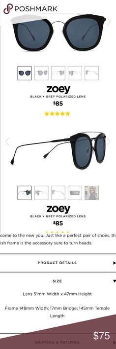 21338acc5805d Black grey polarized zoey sunglass DIFF Eyewear Worn once for photo.  Perfect condition! Comes