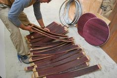 Oak Wine Barrel Coffee Table : 11 Steps (with Pictures) - Instructables Wine Barrel Coffee Table, Wine Barrel Chairs, Wine Barrel Furniture, Wine Barrels, Coffee Tables, Barrel Projects, Vintage Bathrooms, Steel Table, Salvaged Wood