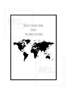 Travel is the only thing you buy that makes you richer! Bestel bij www.minimalisticwallart.nl