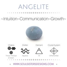 Metaphysical Healing Properties of Angelite, including associated Chakra, Zodiac and Element, along with Crystal System/Lattice to assist you in setting up a Crystal Grid. Go to https:/soulsistersdesigns.com to learn more!