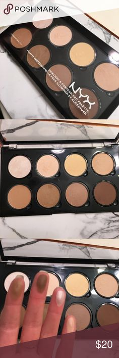 NYX HIGHLIGHT & CONTOUR PALETTE! NYX highlight & contour palette includes highlight shades, cool/warm toned contour shades to create the perfectly sculpted face! Never used, only swatched! Individual pans can pop out and be put into a customizable z-palette. Great shades and quality! Make an offer! NYX Makeup Face Powder