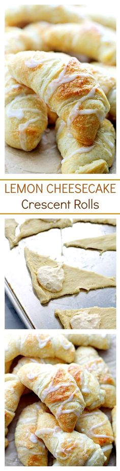 Lemon Cheesecake Crescent Rolls Recipe via Diethood - Super easy and incredibly soft Crescent Rolls filled with a sweet and delicious lemon and cream cheese mixture. The BEST Easy Lemon Desserts and Treats Recipes - Perfect For Easter, Mother's Day Brunch Crescent Roll Cheesecake, Crescent Roll Recipes, Crescent Rolls, Crescent Dough, Lemon Desserts, Lemon Recipes, Sweet Recipes, Dessert Recipes, Brunch Recipes