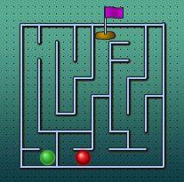 ESTRATEGIA y VELOCIDAD. A maze race. Objetivo meter la pelota verde en el hoyo antes que la roja.
