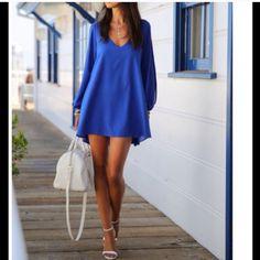 ROYAL BLUE SHORT DRESS! Beautiful A-Line Dress With Cutout Sleeves❤️ Dresses