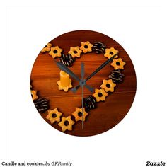 Candle and cookies. round clocks