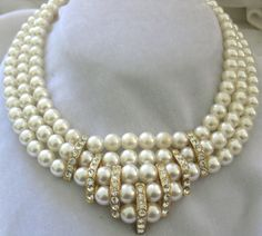 Heavy Glass Pearls & Rhinestones Large Vintage Bib Necklace