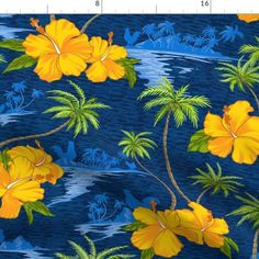 Tropical Fabric, Fabric Flowers, Custom Fabric, Spoonflower, Hawaii, Craft Projects, Quilts, Beach, Classic