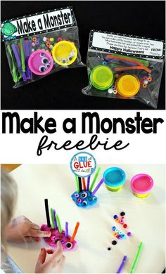Make a Monster is the perfect candy-free Halloween gift. This activity is grea… Make a Monster is the perfect candy-free Halloween gift. This activity Kindergarten Halloween Party, Classroom Halloween Party, Halloween Class Party, Halloween Birthday, Halloween Treat Ideas For School, Halloween Party Activities, Class Party Ideas, Halloween Games For Preschoolers, Ideas Party