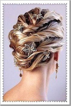 TWISTED HAIR... how pretty is this?? The clips remind me of starfish.