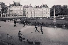 kids playing soccer in Jardin du Luxembourg.