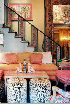 Tony Duquette...fabulous room,love the leopard print stools!!!