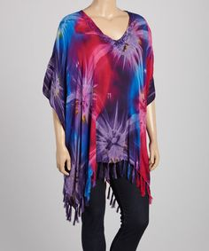 Purple Tie-Dye V-Neck Tunic - Plus by India Boutique #zulily #zulilyfinds