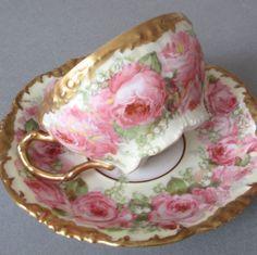 Antique LIMOGES Porcelain Cup + Saucer PINK ROSES + LOV Lush GILT Trim * POUYAT