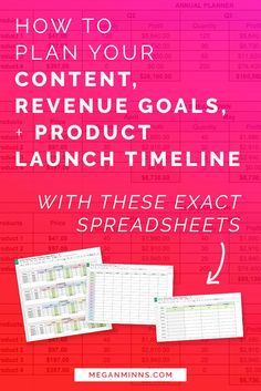 Feeling overwhelmed in your business? Need ONE PLACE to plan your content, revenue goals, and product launch timelines? I'm got the exact spreadsheets you need to help you do just that! Read the full blog post (and watch the free video lesson!) here:  http://meganminns.com/blog/plan-your-goals