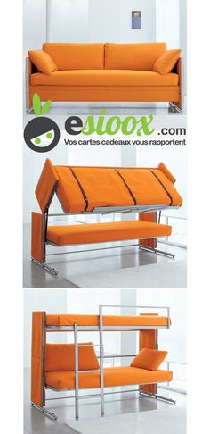 Furniture and Accessories. inspiring Multipurpose Furniture for Small Spaces. Multipurpose Folded Bunk Bed From Convertible Couch With Orange Color and Soft Sheets with Two Cushions for Living Room Idea