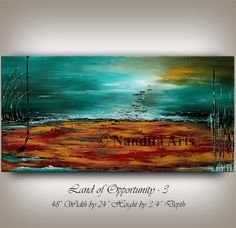 """LARGE LANDSCAPE PAINTING, Decorative Art, 48"""" Abstract Painting Turquoise Home & Living Room Wall Art Landscape Art Artist Nandita Albright"""